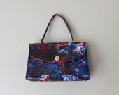 vintage 60s Bag - 1960s Blue and Red Satchel Purse