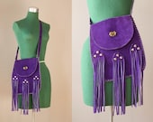 Vintage Leather Fringe Bag / 1970s Bohemian Purple Suede Shoulder Bag