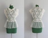 Vintage Blouse / 1950s White Lace Peplum Blouse / 50s Lace Lingerie
