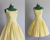 Vintage Dress / 1950s Sundress / 50s Sunny Yellow Sundress