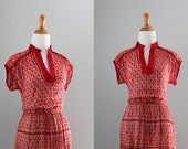70s Dress / 1970s Cotton Gauze India Dress / 70s Sheer India Red Dress / Vintage Dress