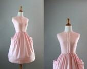 Vintage 60s Dress / 1960s Pink Sundress / Pink Check Picnic Dress
