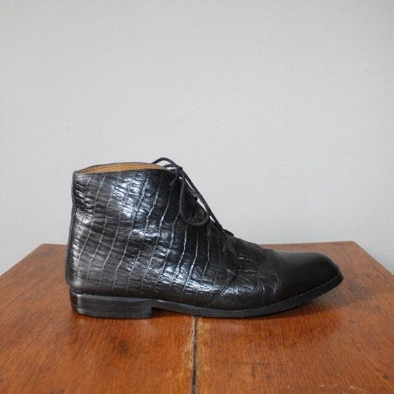 vintage s black leather lace up beatle boots