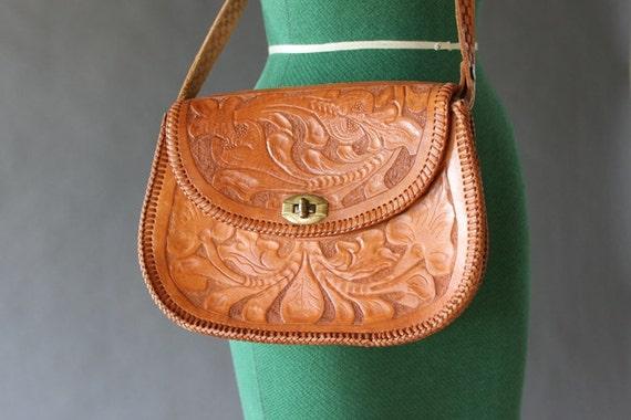 vintage 70s Tooled Leather Purse - 1970s Boho Leather Shoulder Bag