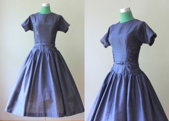 Vintage 1950s Party Dress / Ruched Navy Blue 50s Full Skirt Dress