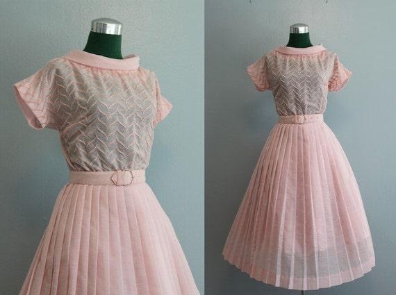 Vintage Dress / 50s 60s Pink Dress / 1950s Embroidered Funnel Neck Dress
