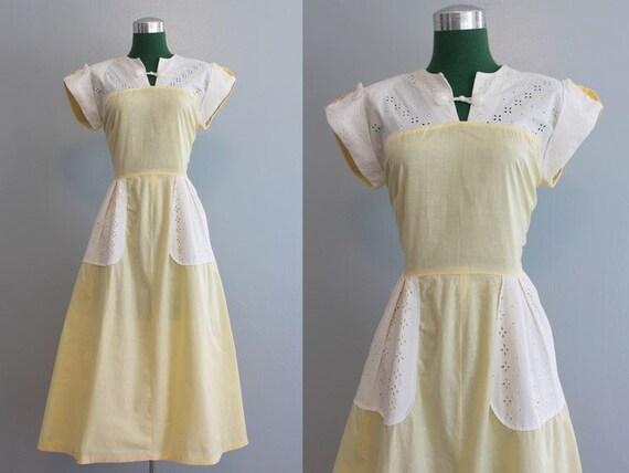 Vintage Dress / 1940s Sunny Cotton Eyelet Dress / 40s Dress