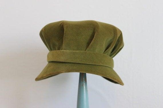 Vintage Hat / 1960s Mod Green Hat / Swinging London 60s Hat