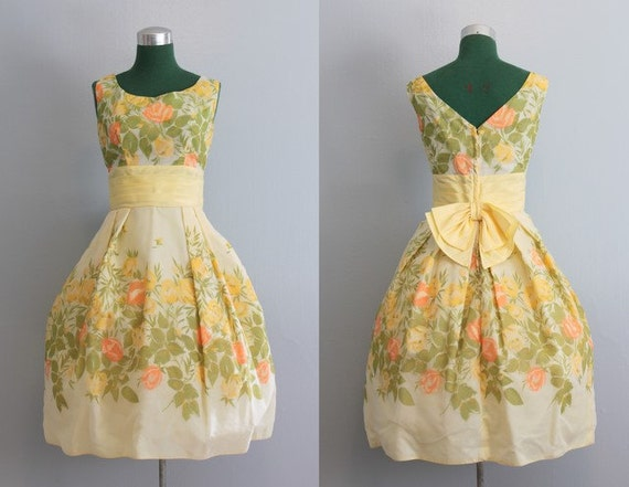 1960s Party Dress / Vintage Dress / 60s Yellow Rose Party Dress