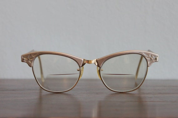 50s Glasses / Vintage Eyeglasses / 1950s Silver Glasses
