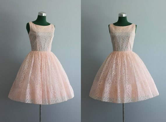 Vintage Dress / 1960s Party Dress / Pink Lace Party Dress