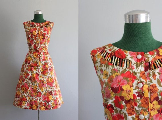 ON RESERVE Vintage Dress / 1950s Floral Sundress / 50s Cutout Neckline Dress