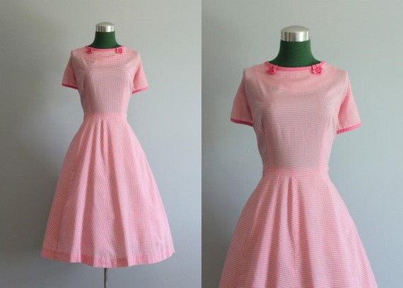Vintage Dress / 1950s Dress / 50s Pink Check Full Skirt Dress