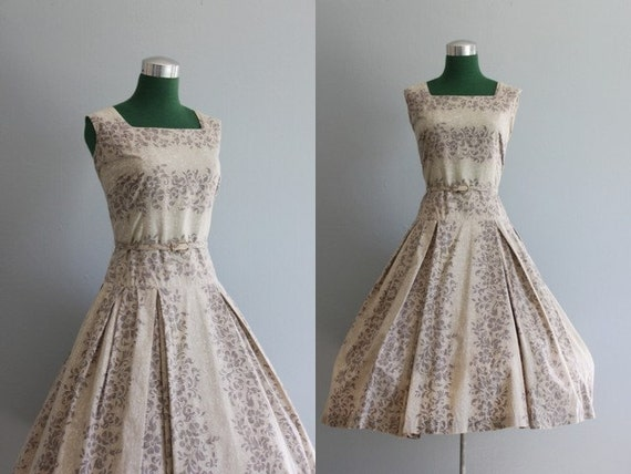 Vintage Dress / 1950s Sundress / 50s Shades of Gray Summer Dress