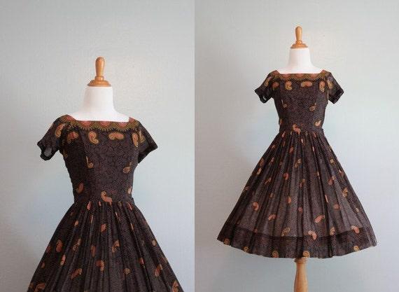 ON RESERVE Vintage Dress / 1950s Party Dress /  Sheer Gauzy Cotton 50s Dress