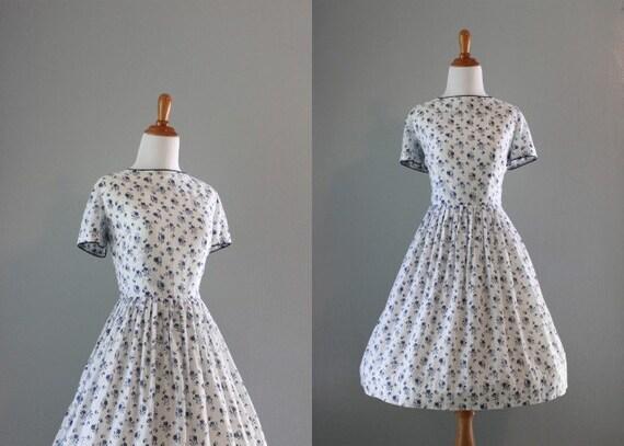 Vintage 60s Dress / 1960s White Cotton Dress / 60s Sheer White Floral Dress