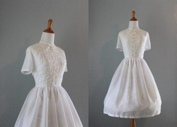 50s Dress / 1950s Sheer White Dress / Vintage 50s Embroidered Dress