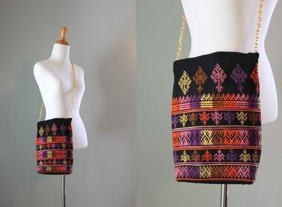 Vintage Bag / 60s 70s Ethnic Shoulder Bag / Cross Body Bag
