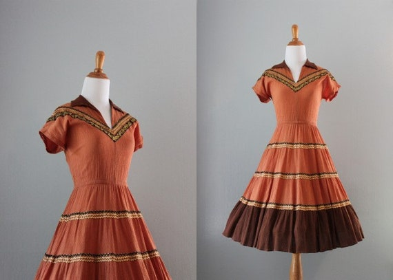 50s Dress / 1950s Patio Dress / 50s Southwestern Dress / Vintage Dress