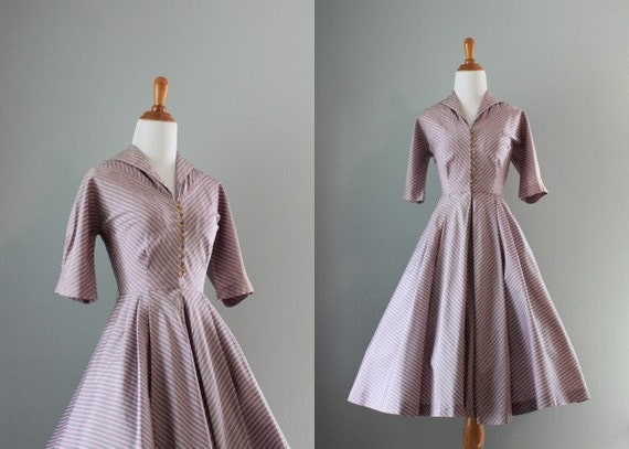 Vintage 50s Dress / 1950s Pewter and Pink Striped Dress / 50s Dress