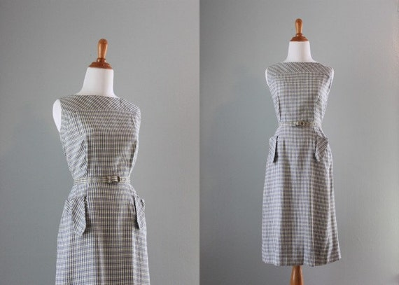 50s Dress / 1950s White Windowpane Wiggle Dress / Vintage Sheath Dress