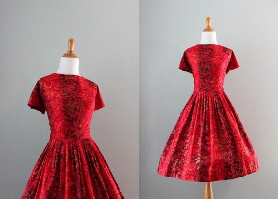 60s Dress / Vintage 1960s Red Dress / 50s 60s Hawaiian Dress