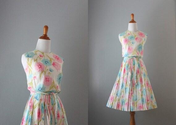 60s Sundress / 1960s White Summer Sundress / Vintage 60s Dress
