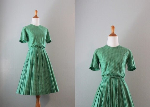 50s Dress / 50s 60s Green Gingham Day Dress / 1950s Checked Dress