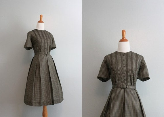50s Dress / Vintage Checked Day Dress / 50s 60s Gingham Day Dress