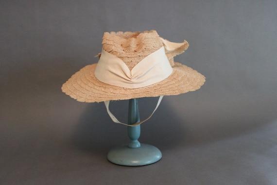 1930s Hat / Vintage 30s 40s Straw Hat / Vintage Hat