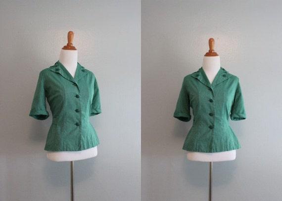 Vintage Girl Scouts Blouse / 50s Blouse / Girls Scouts Peplum Blouse