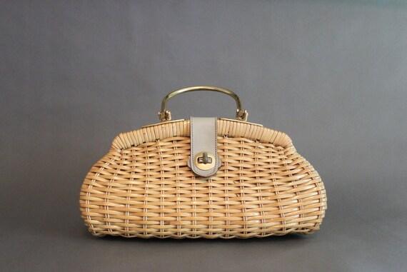Vintage Bag / 50s Wicker Purse / Vintage 50s 60s Frame Bag