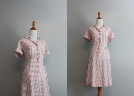 Vintage 50s Dress / 40s 50s Pink Stripe Cotton Dress / 1950s Day Dress