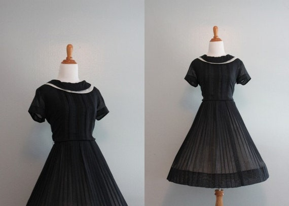 Vintage 50s Dress / 1950s Sheer Black Dress / 50s Dress