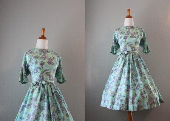 Vintage Dress / 1950s Dress / 50s Garden Party Dress