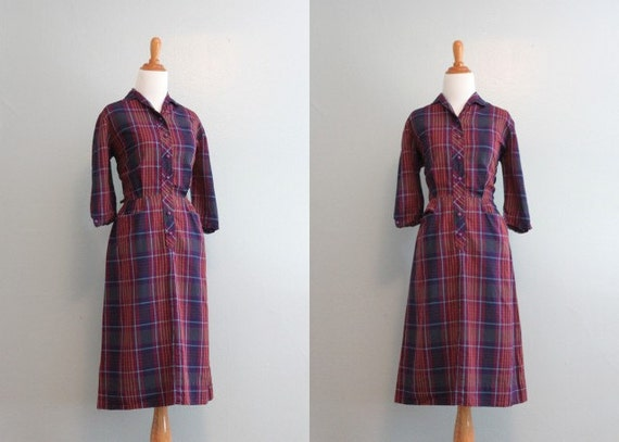 Reserved...Vintage 50s Dress / 1950s Purple Plaid Day Dress / 50s Fitted Dress