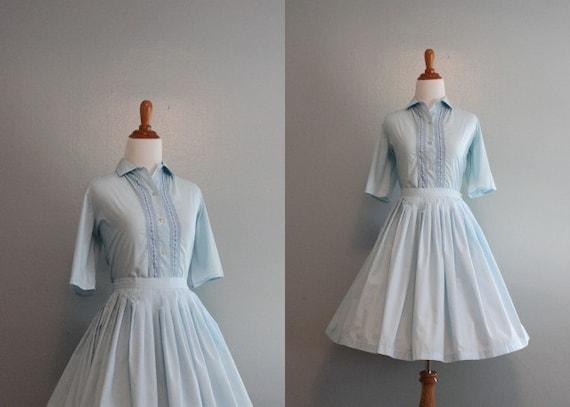 Vintage Dress / 1960s Dress Set / 60s Sky Blue Cotton Day Dress / Blouse and Skirt