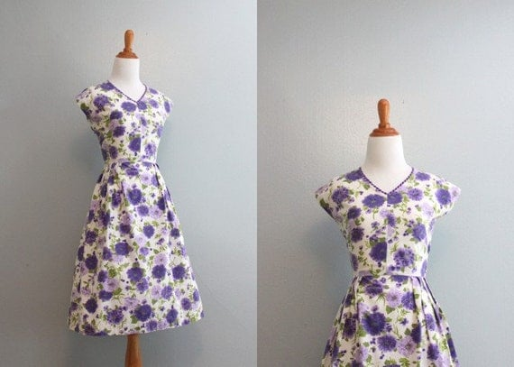 Vintage 60s Dress / 50s 60s White Floral Cotton Sundress / 50s Sundress