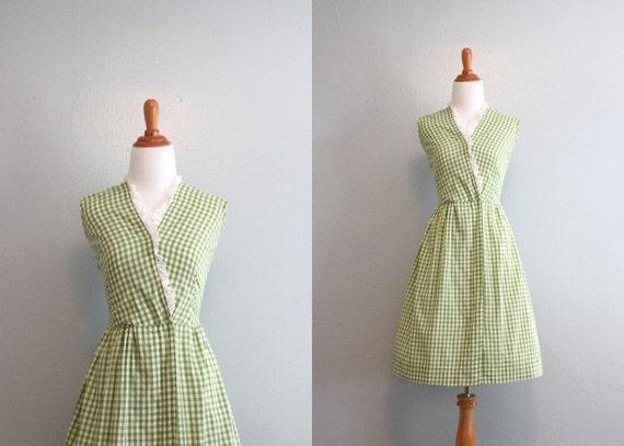 50s Dress / Vintage 1950s Green Check Day Dress / 50s Cotton Wrap Dress
