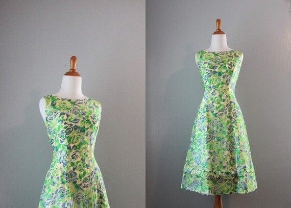 Vintage 1960s Dress / 50s 60s Silk Party Dress / 60s Silk Chiffon Floral Dress
