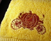 Yellow Hand Towel with Pumpkin Coach Oversized