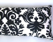Outdoor bolster pillow - Waverly black and cream damask, outdoor furniture,  outdoor decor