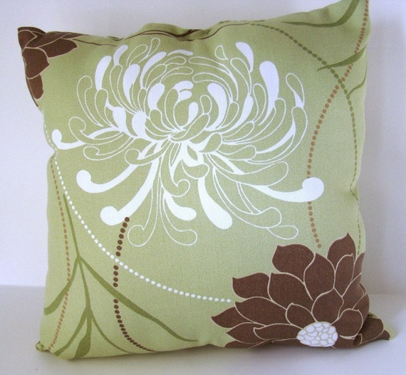 Outdoor pillow 16 x 16 inch beautiful light sea green and - Sage green complementary colors ...
