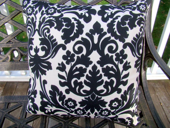 16 x 16 indoor outdoor pillow  - Waverly black and cream damask, outdoor furniture,  outdoor decor