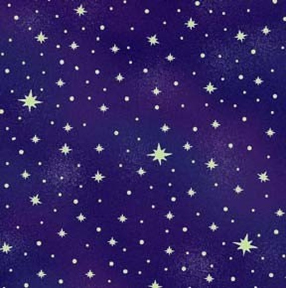 Space Ranger Glow in the Dark Stars on Navy fabric 2 1\/2 yards RESERVED FOR PurplMyst
