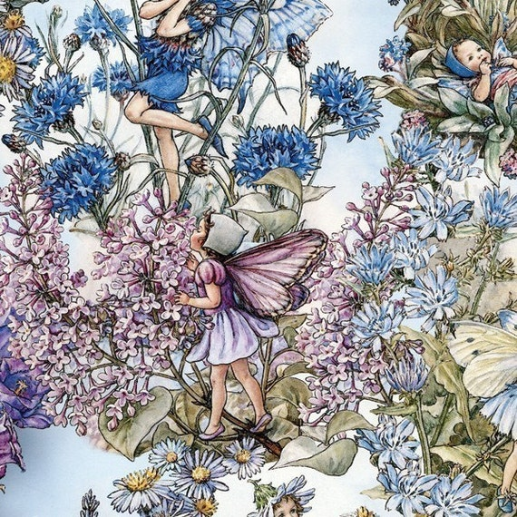 Flower Fairy Cicely Mary Barker Periwinkle Fabric 1 yard