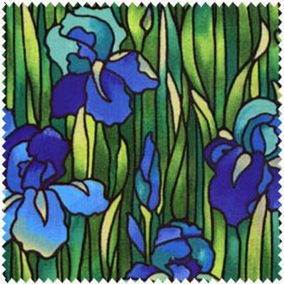 Blue Iris And Green Grass Stained Glass By Lucyintheskyquilts