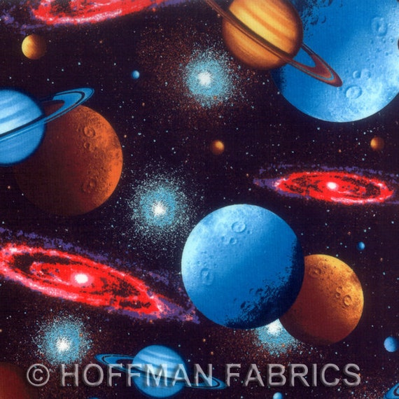 Cosmic solar system space hoffman fabric 1 yard last in stock for Solar system fabric