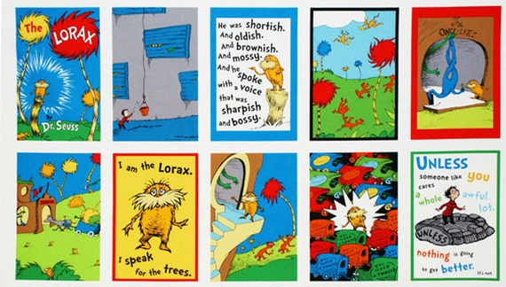 Dr Seuss The LORAX Childrens Book Panel Fabric