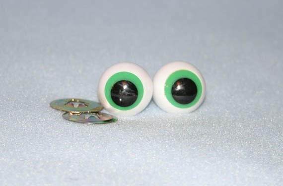 2 Pair 20mm Green Googly FROG Eyes Plastic with Metal Washers for Stuffed Animal Toy Plushie Doll